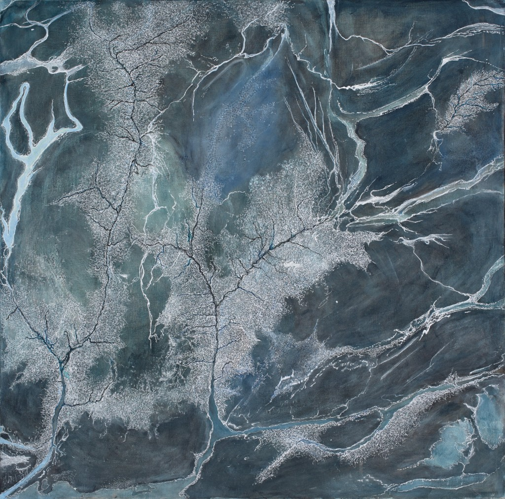 Anna Taylor Alluvial 1 2014 Acrylic & ink drawing on canvas. 76 x 78cm Jeremy Dillon photographer